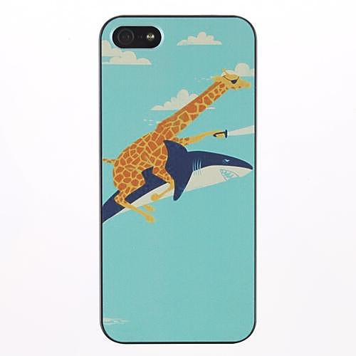 Giraffe riding a shark