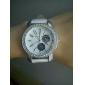 PU Band Big Dial Quartz Wrist Watch For Women(White)