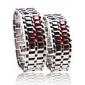 bande métallique argentée numériques de lave de fer de style couple rouge sport conduit montre-bracelet sans visage