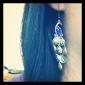 Vintage boucles d'oreilles paon avec bijou coloré