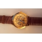 Men's Watch Auto-Mechanical Gold Skeleton Dial Hollow Engraving Wrist Watch Cool Watch Unique Watch