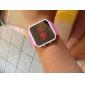 거울을 얼굴에 실리콘 밴드 젤리 인간의 여성 (분홍색)에 손목 시계를 주도