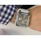 유니섹스 스퀘어 케이스, 화이트 다이얼 넓은 PU 밴드 석영 손목 시계