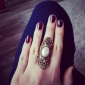 Personality Exaggerated Hollowing Carved Pearl Joint Ring