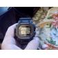 남자의 다기능 LCD 큰 사각 다이얼 고무 밴드 석영 손목 시계 (분류 된 색깔)