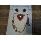 charme du cristal rouge boucles d'oreilles en forme de cœur des femmes