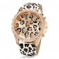 Women's Watch Fashion Diamante Golden Dial Leopard Band Cool Watches Unique Watches