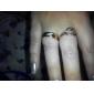 Homme Femme Couple de Bagues Anneaux Zircon cubique Amour Bijoux de Luxe Acier inoxydable Plaqué or Imitation Diamant Forme de Cercle