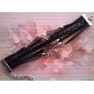 Vintage 8 18cm noir en aluminium / gainé de cuir bracelet de femmes (noir) (1 PC)