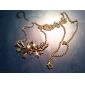 두 마리 꽃 모조 다이아몬드 목걸이 (청동) N313