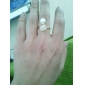 Personable Korean Clover Pattern Metal With Artificial Diamond White Pearl Opening Adjustable Ring (1Pc)