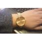여성의 원형 골드 다이얼 합금 밴드 석영 패션 시계
