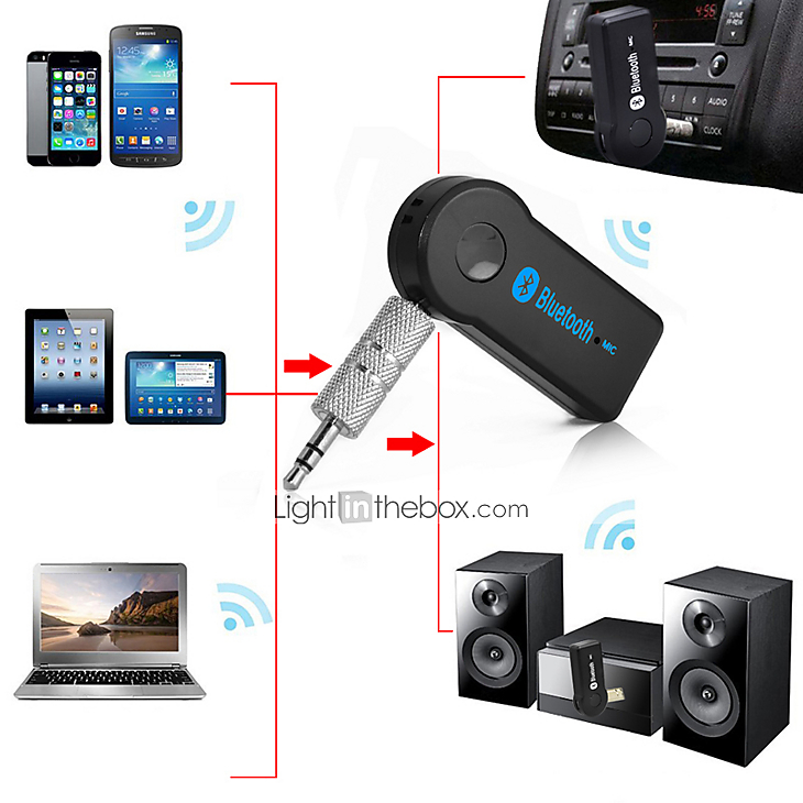Wireless Bluetooth 3.5mm AUX Audio Mono Music Home Car Receiver Adapter Mic S