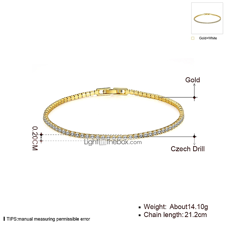 Women's Tennis Bracelet Rhinestone Gold Plated Rose Gold Plated Ladies Simple Style Fashion Bracelet Jewelry Golden / Gold / Pink For Christmas Gifts ...
