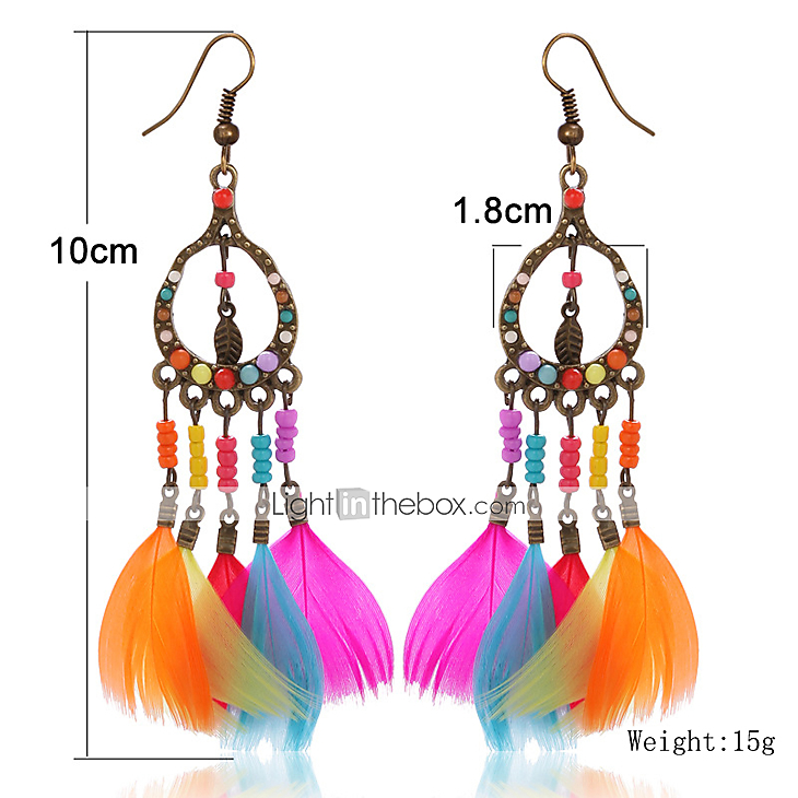 Colorful Bohemian Feather Dangle Drop Earring Gifts for Women Girls Jewelry000001000275