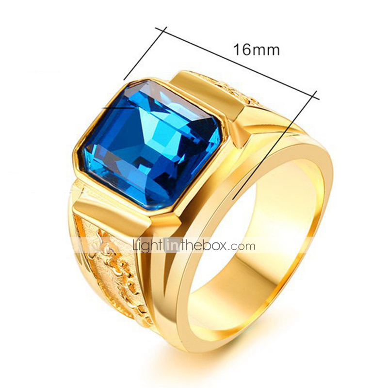 Mens Yellow Gold Finish Sapphire Gem Solitaire Signet Ring Band