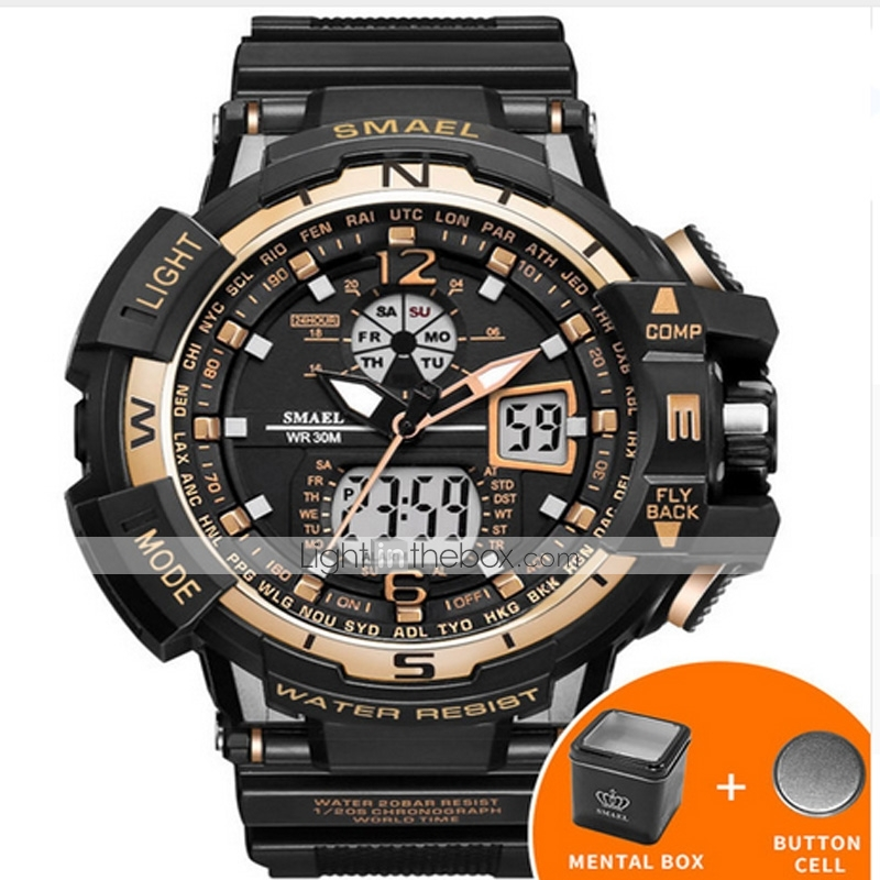 0e347e689d SMAEL Men's Digital Watch Navy Seal Watch Japanese Silicone Black 50 ...