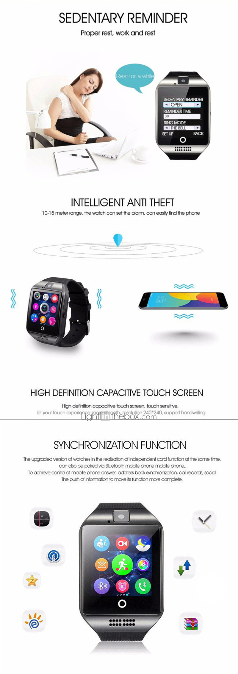 Q18 Smartwatch Bracelet Bluetooth Waterproof Phone Photo Motion Step  Counting Multi-function