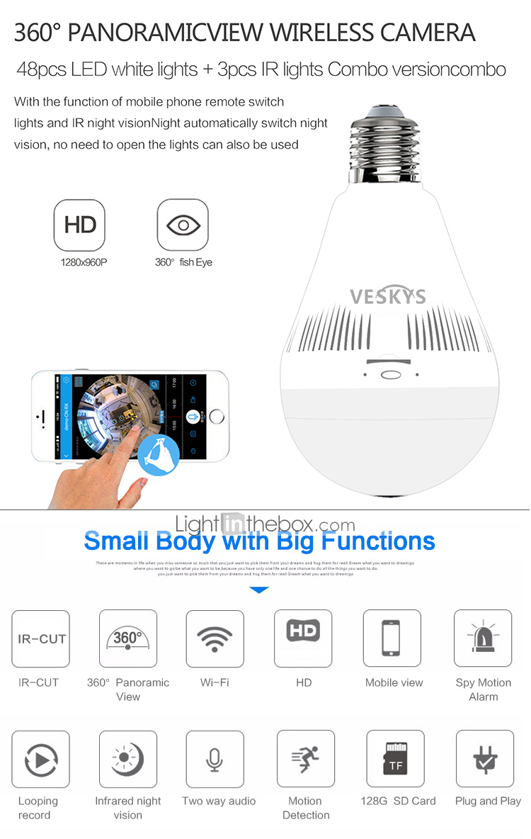 VESKYS 1.3 mp IP Camera Indoor Support128 GB / CMOS / Wireless ...