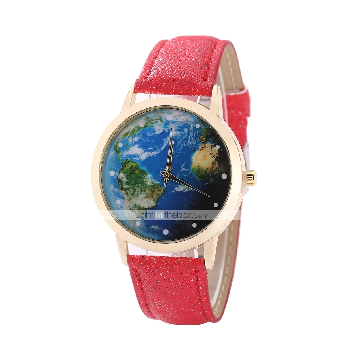 Women\'s Dress Watch Wrist Watch World Map Quartz Quilted PU ...