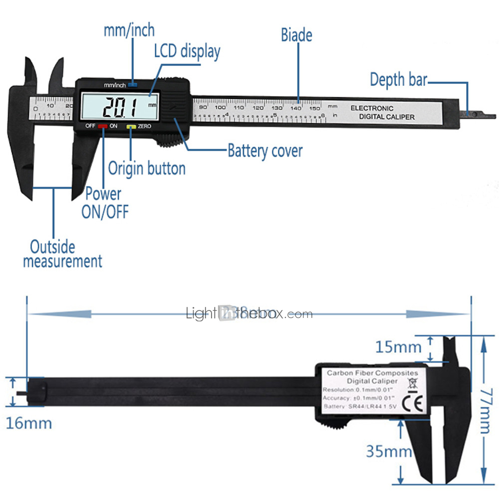 150mm 6 inch LCD Digital Ruler Electronic Carbon Fiber