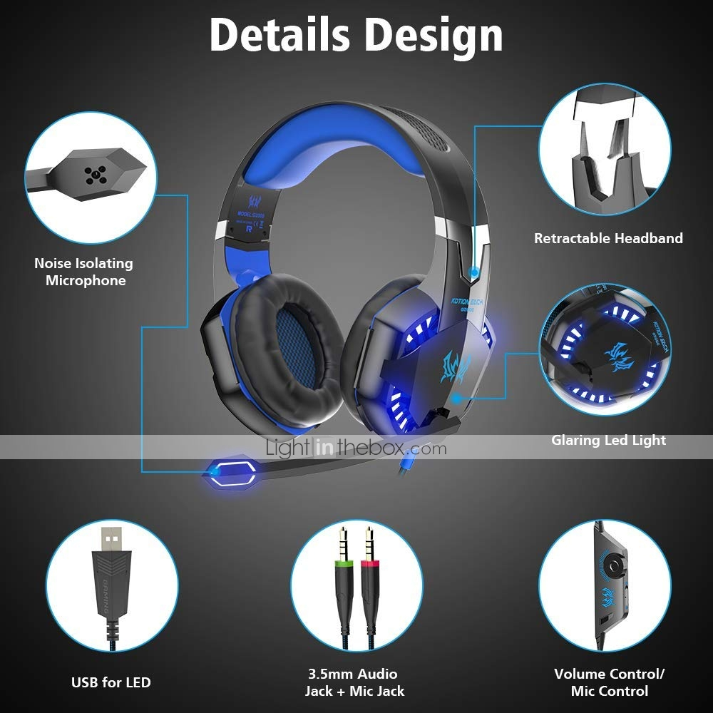 KOTION EACH G2000 Stereo Gaming Headset for Xbox One PS4 PC