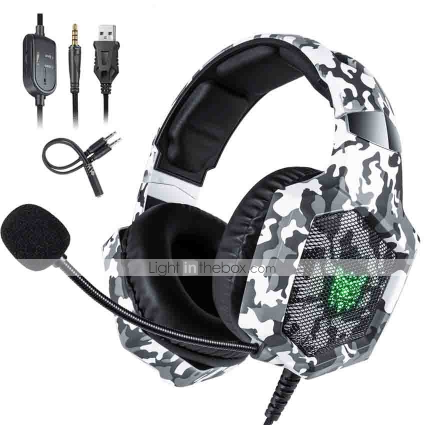 Onikuma K8 Ps4 Camouflage Gaming Headset Casque Wired Pc Pubg Gamer Stereo Gaming Headphones With Microphone Led Lights For Xbox One Laptop Tablet 7662944 2020 28 79