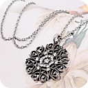Women's Synthetic Diamond Pendant Necklace Pendant Long Necklace Floral / Botanicals Cheap Ladies Casual Fashion Alloy Black Silver Necklace Jewelry Daily