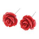 ieftine Cercei-Pentru femei Cercei Stud Trandafiri Floare femei Teak cercei Bijuterii Alb / Galben / Rosu Pentru Zilnic