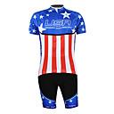 povoljno Maske/futrole za Galaxy S seriju-Malciklo Muškarci Rukava do lakta Biciklistička majica s kratkim hlačama Blue + Red American / USA Prvak Državne zastave Bicikl Sportska odijela Brdski biciklizam biciklom na cesti Prozračnost