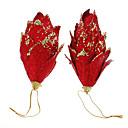 رخيصةأون أزهار اصطناعية-2PCS الأحمر بريق أكواز صنوبر الديكور المهرجانات