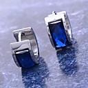 povoljno Naušnice-Žene Sintetički dijamant Okrugle naušnice Huggie Naušnice dame Tikovina Titanium Steel Imitacija dijamanta Naušnice Jewelry Plava Za Božićni pokloni Dnevno
