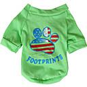 ieftine Cercei-Câine Tricou Îmbrăcăminte Câini Respirabil Galben Verde Costume Bumbac American / USA Steag Național XS S M L