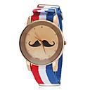 ieftine Ceasuri Bărbați-Unisex Mustache model National Style Flag Fabric Band cuarț încheietura ceas (culori asortate)