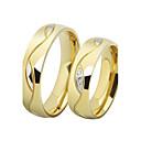povoljno Prstenje za parove-Par je Prstenje za parove Band Ring Prstenovi za utore Kubični Zirconia 2pcs Crn Zlatan Tikovina Titanium Steel Pozlaćeni Circle Shape dame Luksuz Vjenčanje Dar Jewelry Ljubav / Imitacija dijamanta
