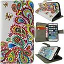 رخيصةأون أغطية أيفون-غطاء من أجل iPhone 6s Plus / أيفون 6بلس / iPhone 6s محفظة / حامل البطاقات / مع حامل غطاء كامل للجسم زهور قاسي جلد PU