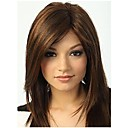 Synthetic Wig Straight Style Bangs Capless Wig Brown Synthetic Hair 15 inch Women's Highlighted / Balayage Hair / Bangs Brown Wig Long Natural Wigs