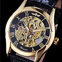 رخيصةأون القلائد-WINNER رجالي ساعة المعصم ووتش الميكانيكية داخل الساعة أتوماتيك جلد أسود نقش جوفاء مماثل سحر - ذهبي