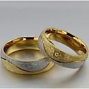 ieftine Inele-Pentru femei Inele Cuplu Inel de declarație Groove Inele Diamant sintetic 2pcs Auriu / Alb Oțel titan Diamante Artificiale Circle Shape femei Nuntă Petrecere Bijuterii Iubire