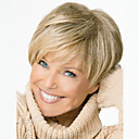 ieftine Peruci & Extensii de Păr-Peruci Sintetice Ondulat Ondulat Frizură Pixie Cu breton Perucă Blond Scurt Blond Păr Sintetic Pentru femei Partea laterală Cu Bangs Blond