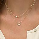 povoljno Ekstenzije za kosu-Žene slojeviti Ogrlice Monogrami Bračni Floating dame Double-layer Moda Početno Nakit Imitacija dijamanta Legura Zlato Ogrlice Jewelry Za Special Occasion Rođendan Dar