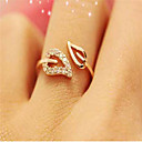 Women's Open Cuff Ring Adjustable Ring thumb ring Cubic Zirconia tiny diamond 1pc Gold Silver Cubic Zirconia Rhinestone Gold Plated Ladies Simple Basic Wedding Masquerade Jewelry Leaf Cheap / Alloy
