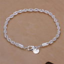 cheap Men's Necklaces-Women's Chain Bracelet Twist Prince Of Wales Twisted Baht Chain Snake Cheap Ladies Basic Fashion Italian everyday Sterling Silver Bracelet Jewelry Silver For Wedding Party Daily