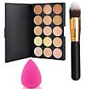 pro party 15 colors contour face cream makeup concealer palette powder brush power puff