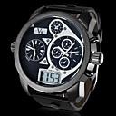 رخيصةأون القلائد-V6 رجالي ساعة عسكرية كوارتز ياباني جلد اصطناعي أسود رزنامه ساعة رياضية LCD تناظري-رقمي أبيض أسود / منطقتا زمنية