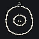 ieftine Colier la Modă-Pentru femei Set bijuterii Brățară Σκουλαρίκια Coliere - Vintage Draguț Petrecere Birou Casual Declarație Modă European Cu Mărgele Alb