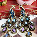 cheap Earrings-Women's Cubic Zirconia Drop Earrings Dangle Earrings Hanging Earrings Long Marquise Cut Peacock Statement Ladies Vintage Bohemian Elegant Folk Style Cubic Zirconia Rhinestone Earrings Jewelry Royal