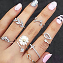 Women's Knuckle Ring Rings Set Stacking Stackable Leaf Flower Cheap Ladies Unusual Unique Design Basic Fashion Rhinestone Imitation Diamond Alloy Ring Jewelry Gold / Silver Party Daily Casual One