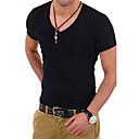 povoljno Narukvice-Veći konfekcijski brojevi Majica s rukavima Muškarci Dnevno / Sport / Formalan Jednobojni V izrez Slim Sive boje / Kratkih rukava / Rad
