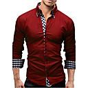 رخيصةأون قمصان رجالي-رجالي الأعمال التجارية قميص, لون سادة ياقة مفرودة نحيل / كم طويل / الربيع / الخريف / عمل